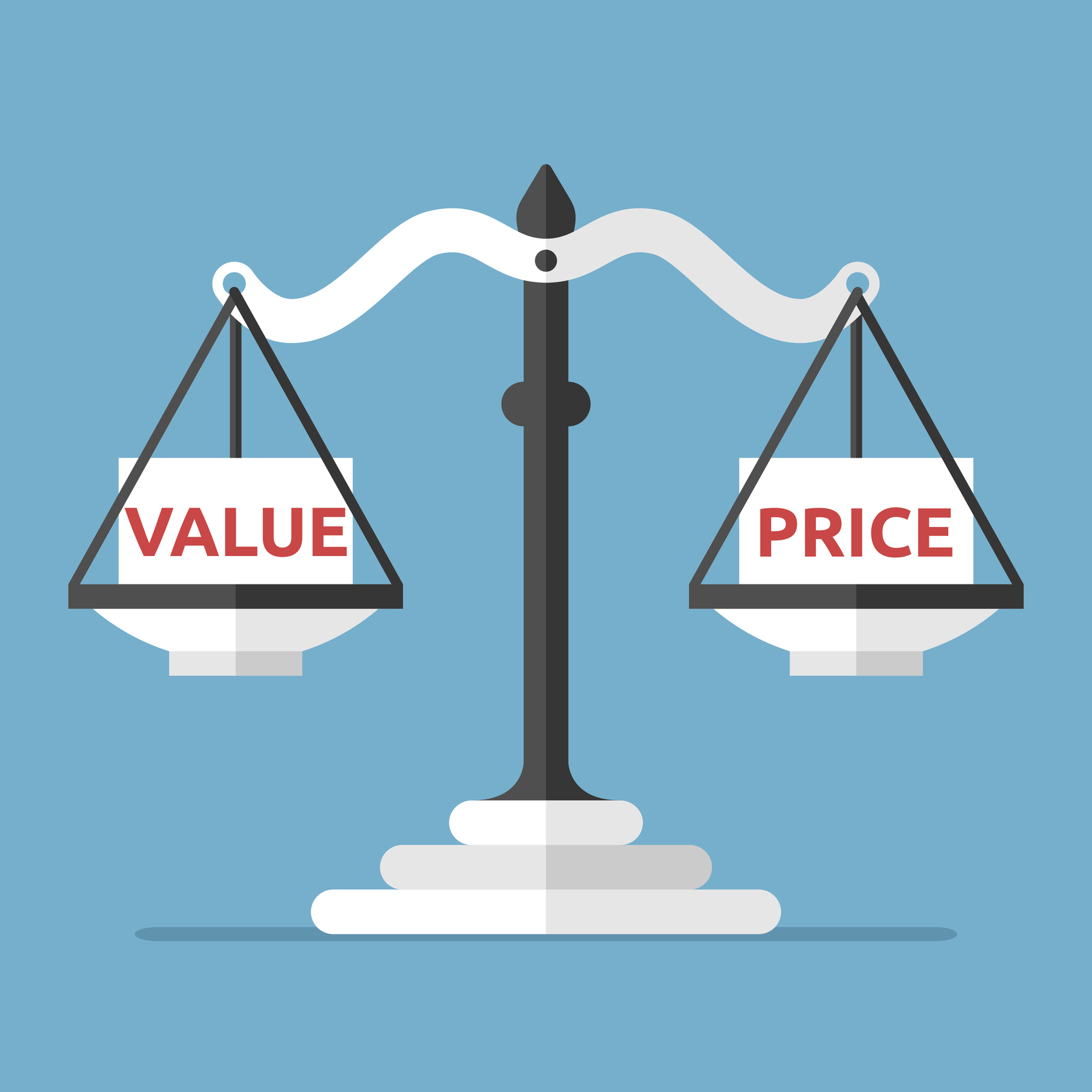 "Scale with ""Value"" on one side and ""Price"" on the other"